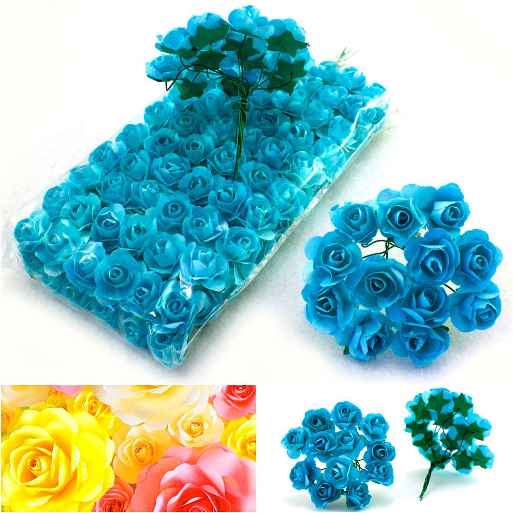 (ОПТ,12 букетиков) Роза бумажная 1.5см (144 шт) Цвет бирюзовый
