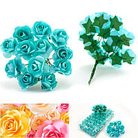 Роза бумажная 1,5см (букет 12 шт) Цвет - Светлая мята (Тиффани)