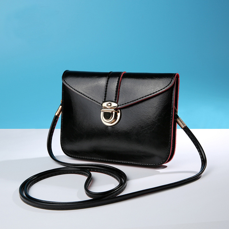 Женская маленькая сумочка на длинном ремешке, Черный клатч из кожзама на защелке, Мини сумочка, AL-6769-10
