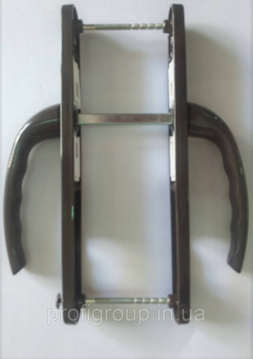 """Нажимной гарнитур для ПВХ дверей c пружиной коричневый """"OPERA"""" 25-85/200 мм"""