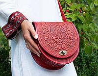 """Женская кожаная красная сумка ручной работы полукруглая """"Калина"""", фото 1"""