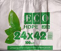 Пакет майка 24*42 100 шт  ЕСО  HDPE  (275 гр.) 11 мкм