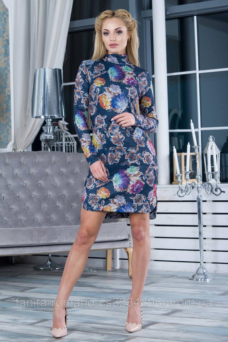 Повседневное платье 7236e Синий L(р)