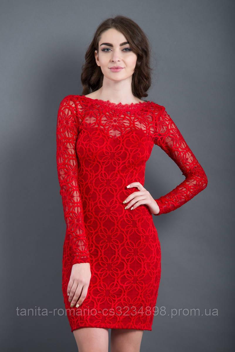Коктейльное платье 7249e Красный XL(р)