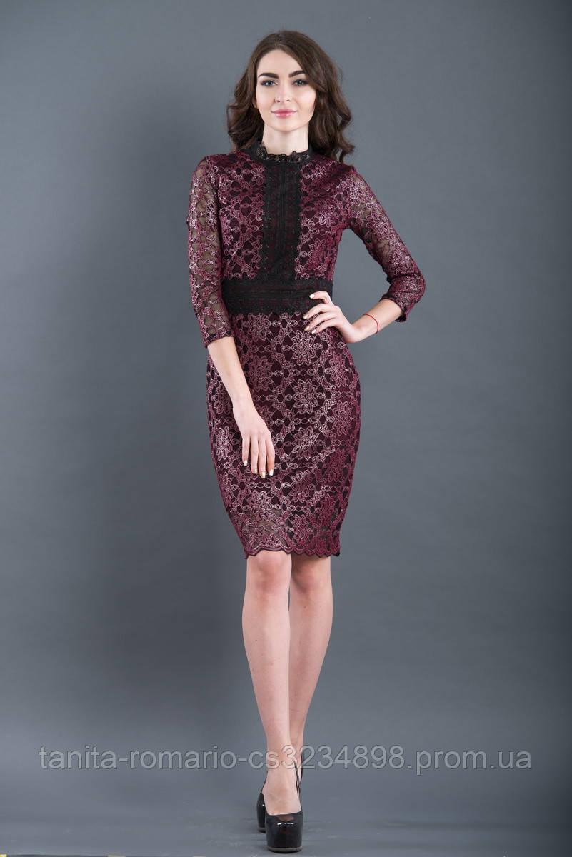 Коктейльное платье 7239e Бордо L(р)