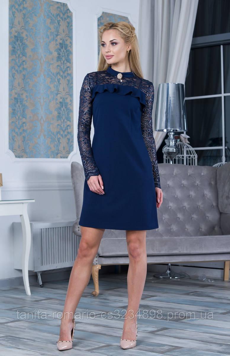 Коктейльное платье 7245e Синий S(р)