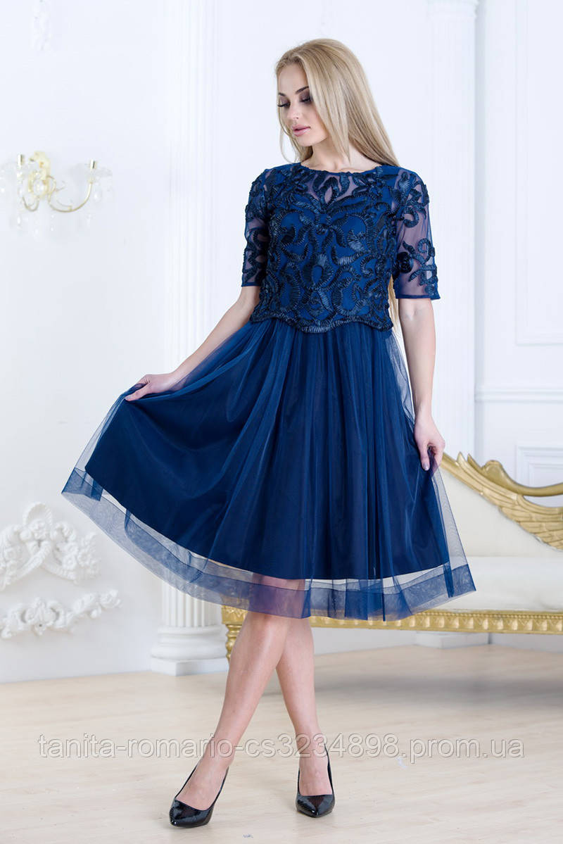 Коктейльное платье 7270e Синий S(р)