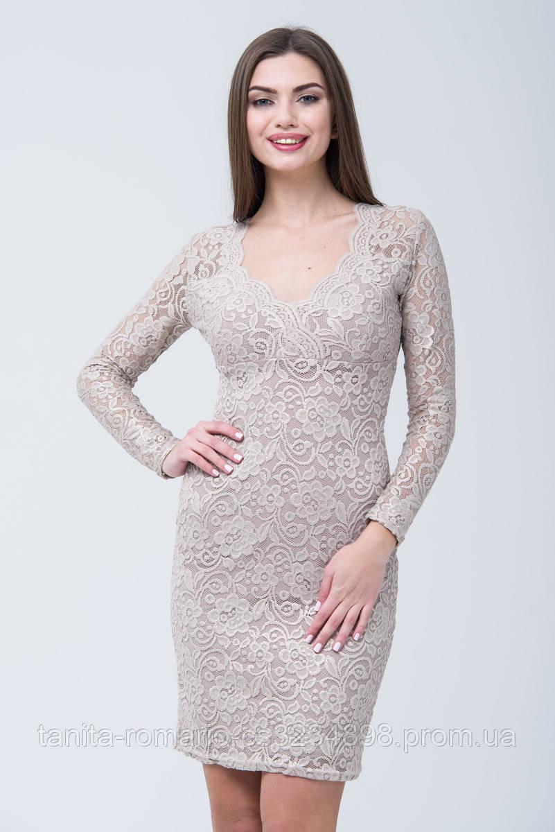 Коктейльное платье 7284e Бежевый L(р)