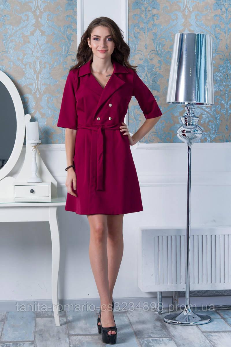Повседневное платье 7204e Бордо L(р)
