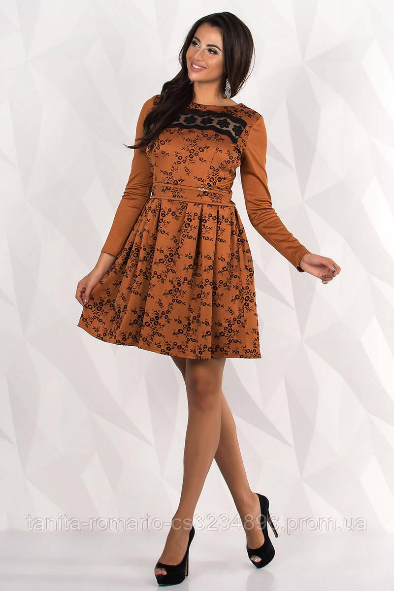 Повседневное платье 7238e Горчица L(р)