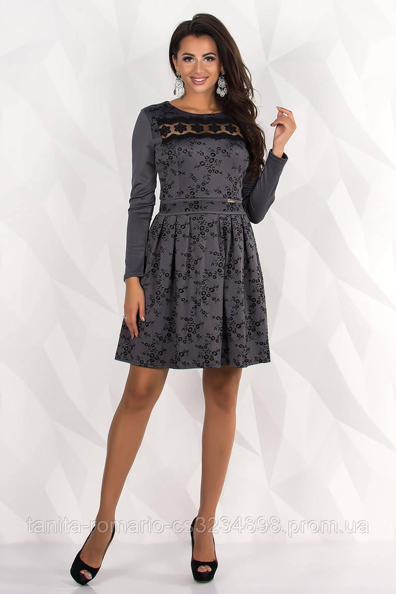 Повседневное платье 7238e Графитовый L(р)