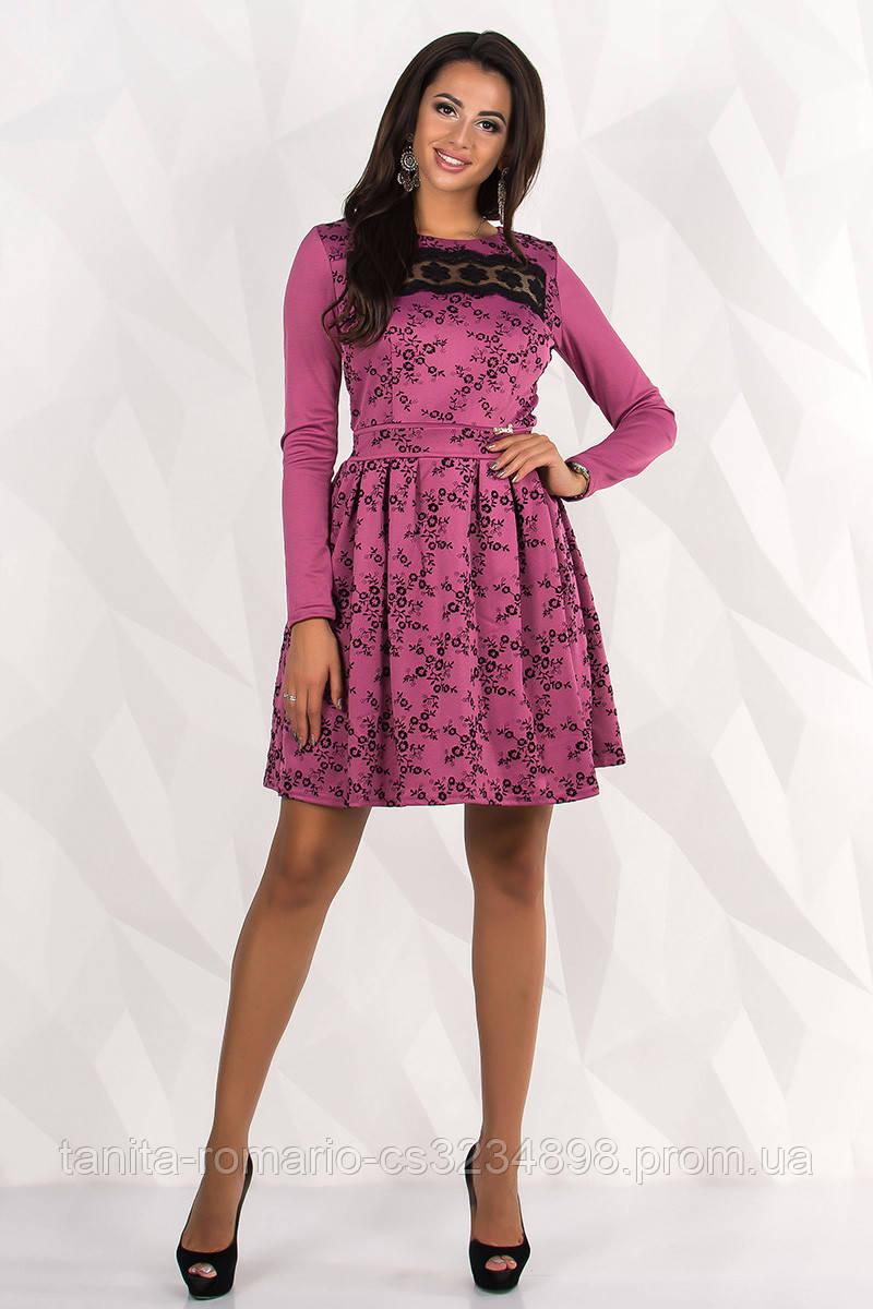 Повседневное платье 7238e Фуксия L(р)