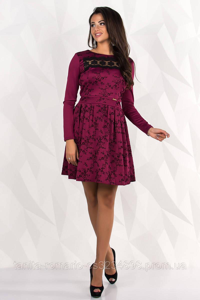 Повседневное платье 7238e Бордо L(р)