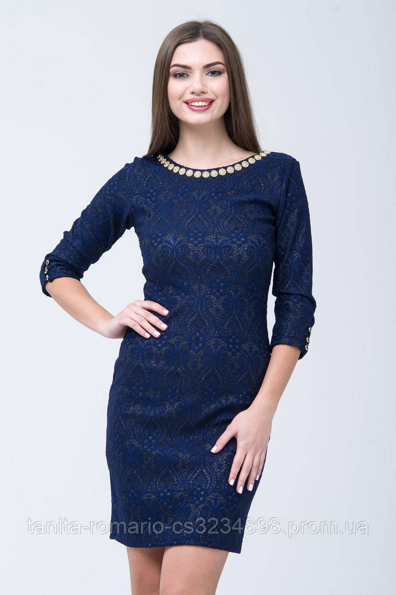 Коктейльное платье 7283e Синий M(р)