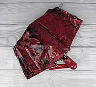 Шикарный качественный складной зонт автомат Popular 1247-2А красный, цветы и кружево