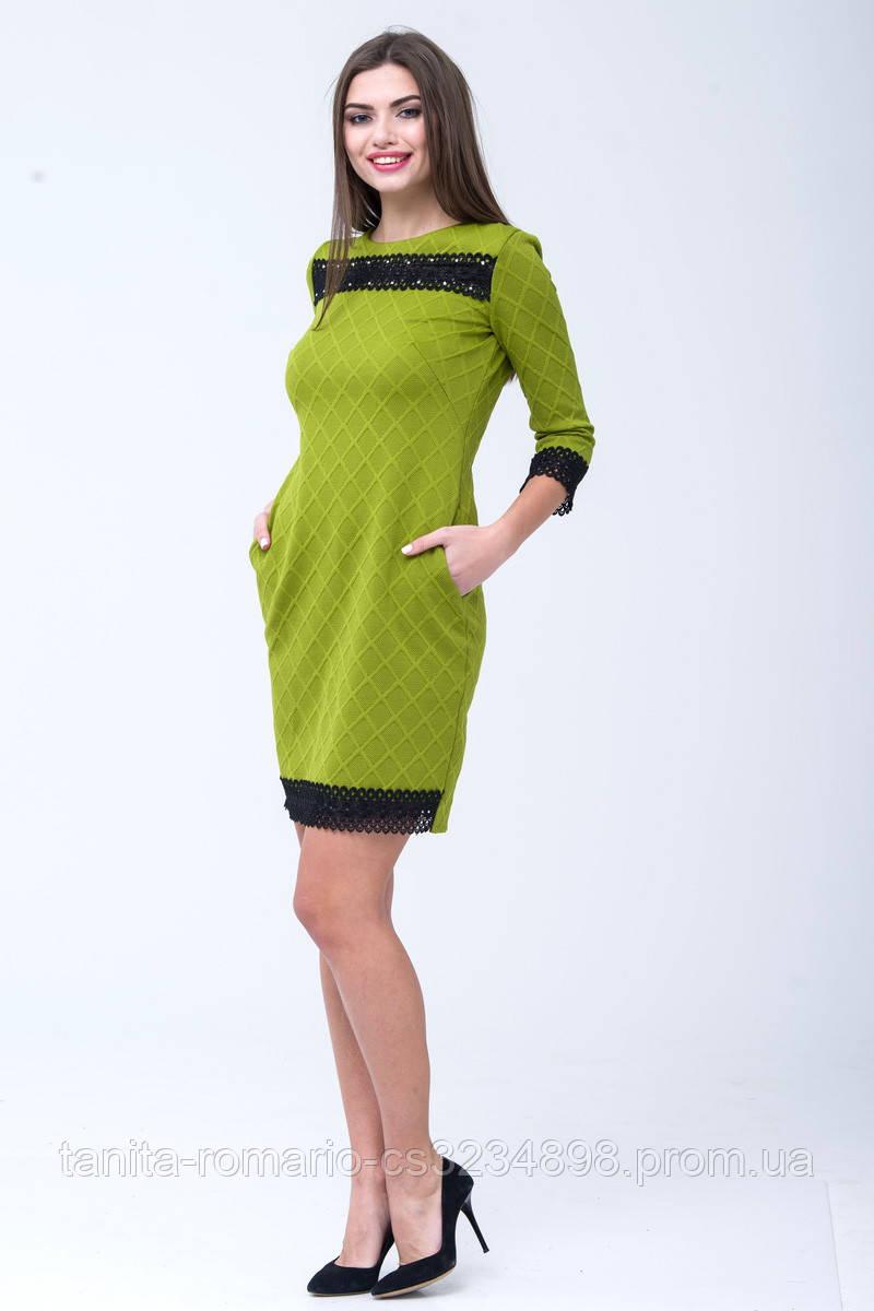 Повседневное платье 6312e Оливковый L(р)