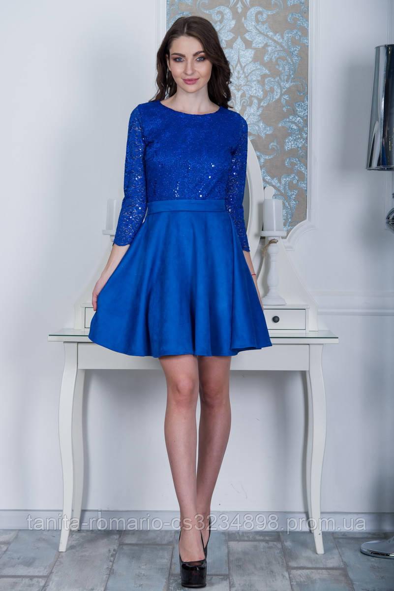 Коктейльное платье 7234e Электрик L(р)