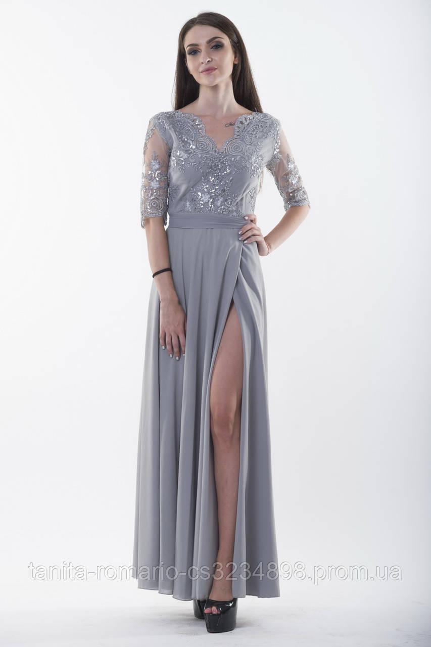 Вечернее платье 7167e Серый S(р)