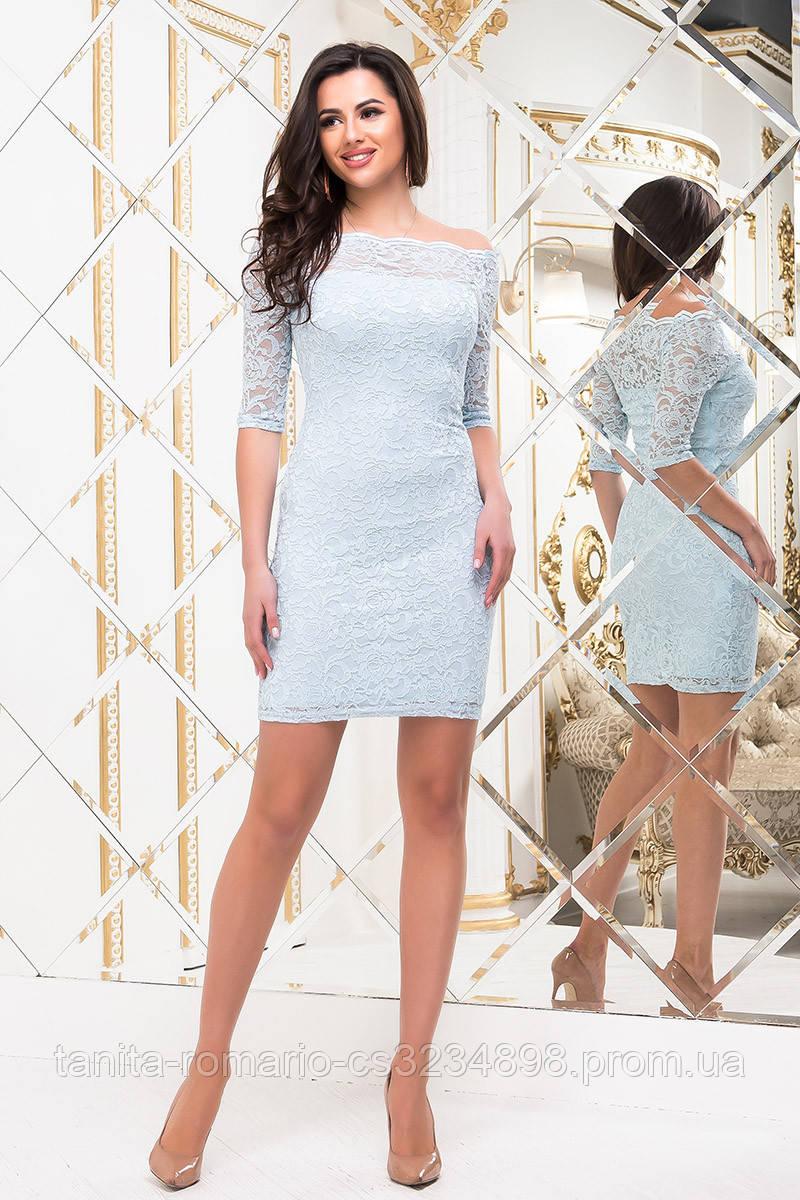 Коктейльное платье 7175e Голубой L(р)