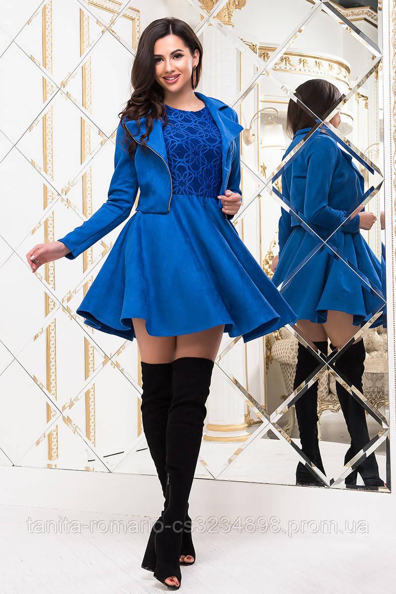 Повседневное платье 7242e Электрик L(р)