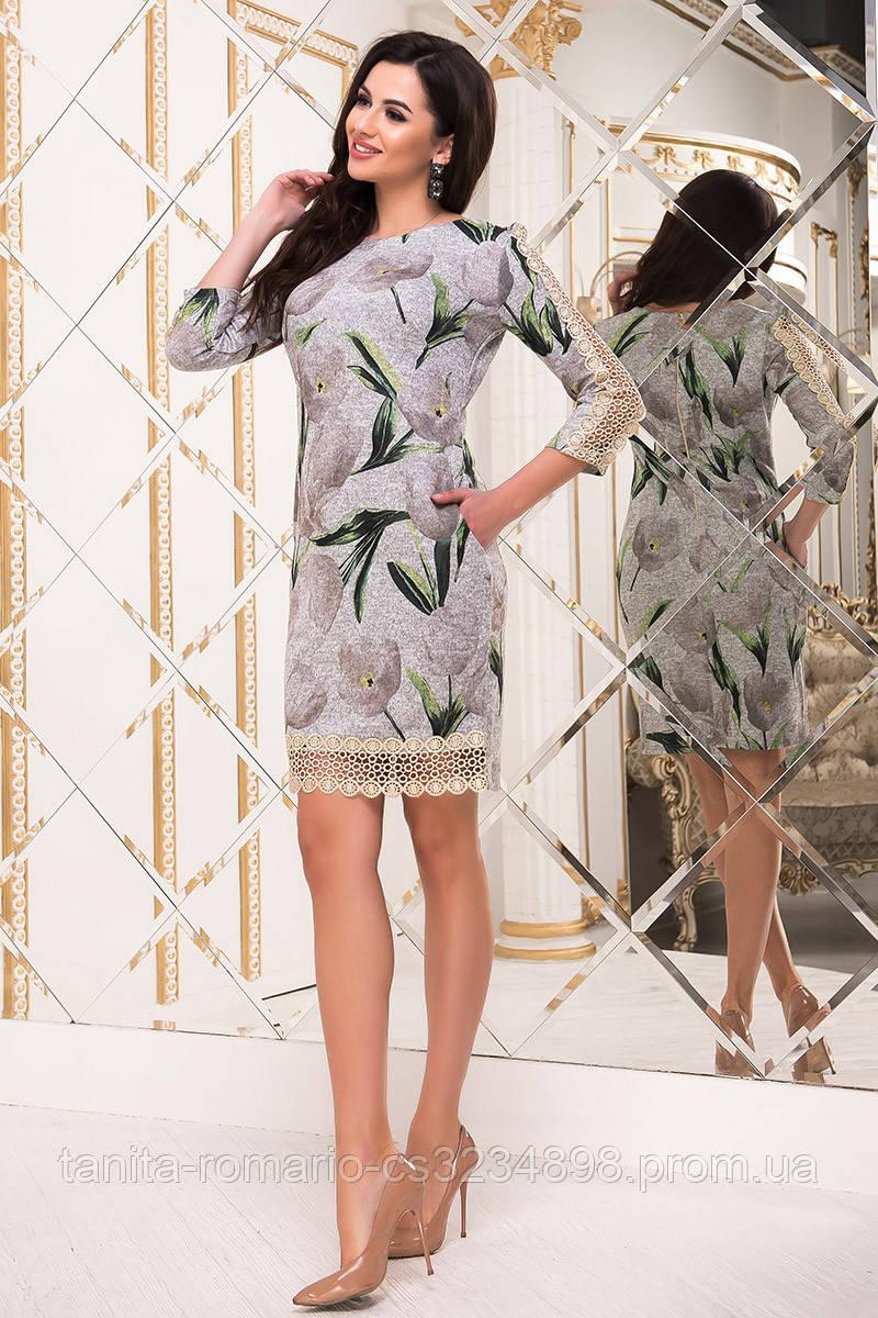 Повседневное платье Дафна серого цвета