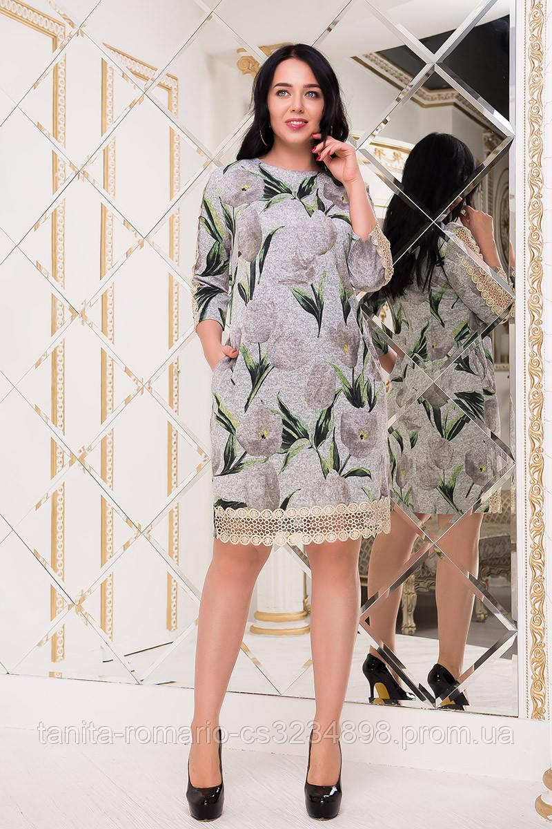 Повседневное платье 7243e batal Серый 2XL(р)