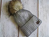 Теплая женская шапка с блестящим напылением, фото 1