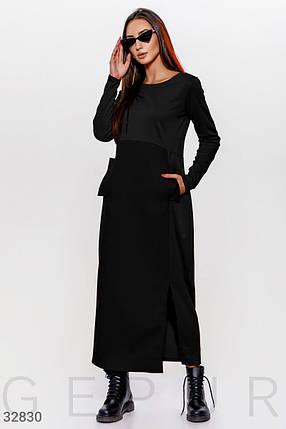 Черное длинное платье круглый вырез, длинный рукав, завышенная линия талии, фото 2