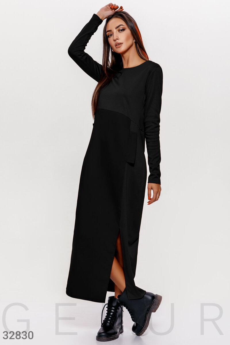 Черное длинное платье круглый вырез, длинный рукав, завышенная линия талии