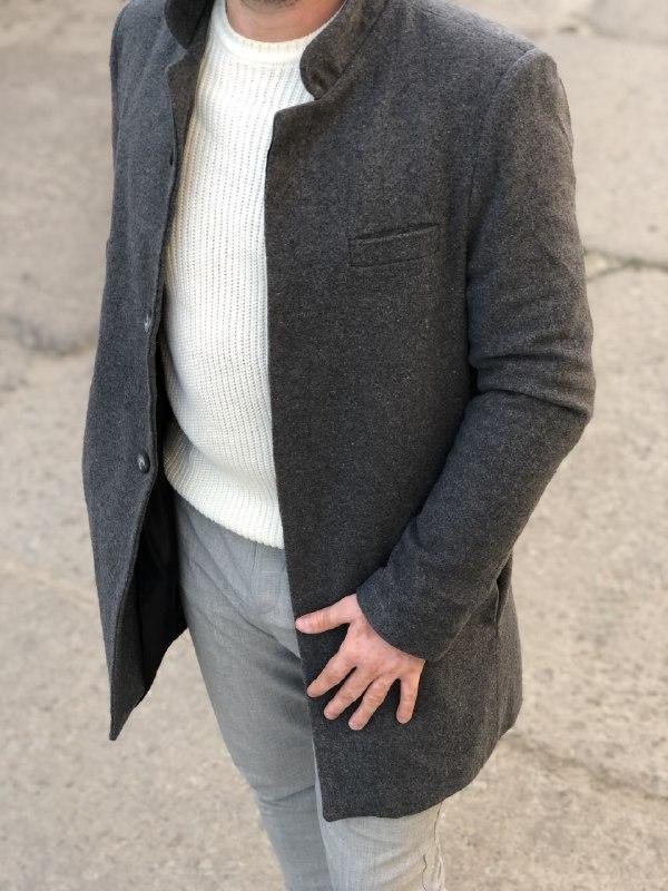 Мужское стильное пальто (темно-серое) - Турция