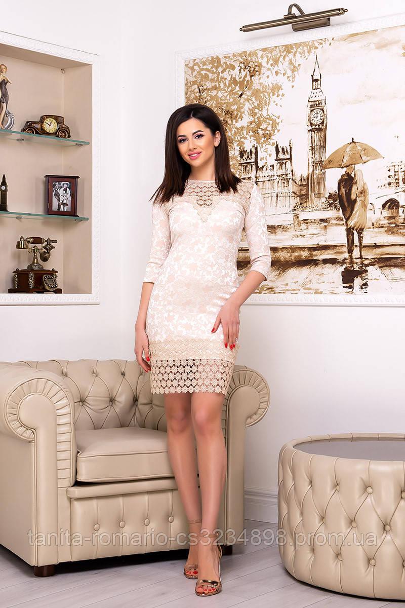 Коктейльное платье 7021e Бежевый L(р)
