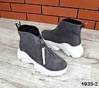 Женские ботинки серого цвета, из натуральной замши (в наличии и под заказ 3-14 дней), фото 2