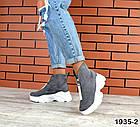 Женские ботинки серого цвета, из натуральной замши (в наличии и под заказ 3-14 дней), фото 4