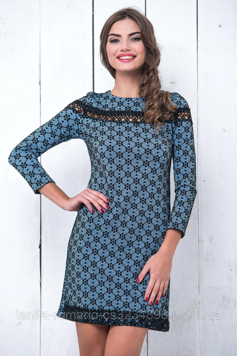 Повседневное платье 6229e Голубой L(р)