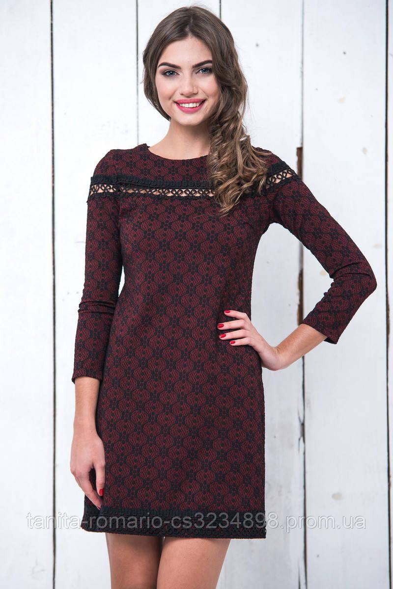 Повседневное платье 6229e Бордо L(р)
