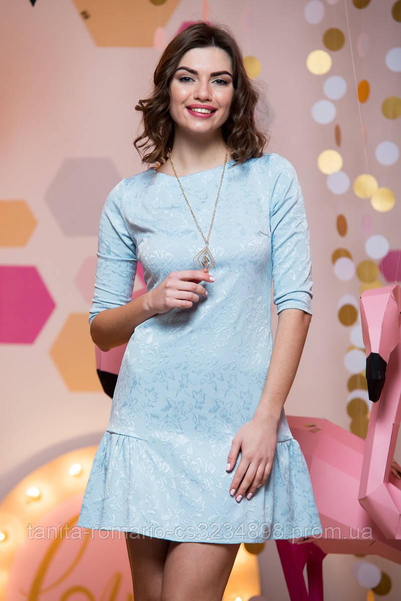 Повседневное платье 7018e Голубой