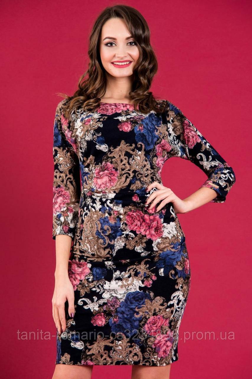 Повседневное платье 5259e Синий/цветочный S(р)