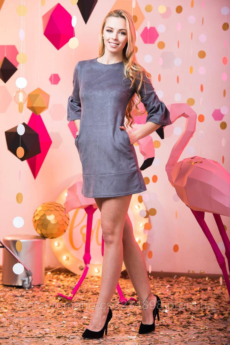 Повседневное платье 6236e Серый L(р)
