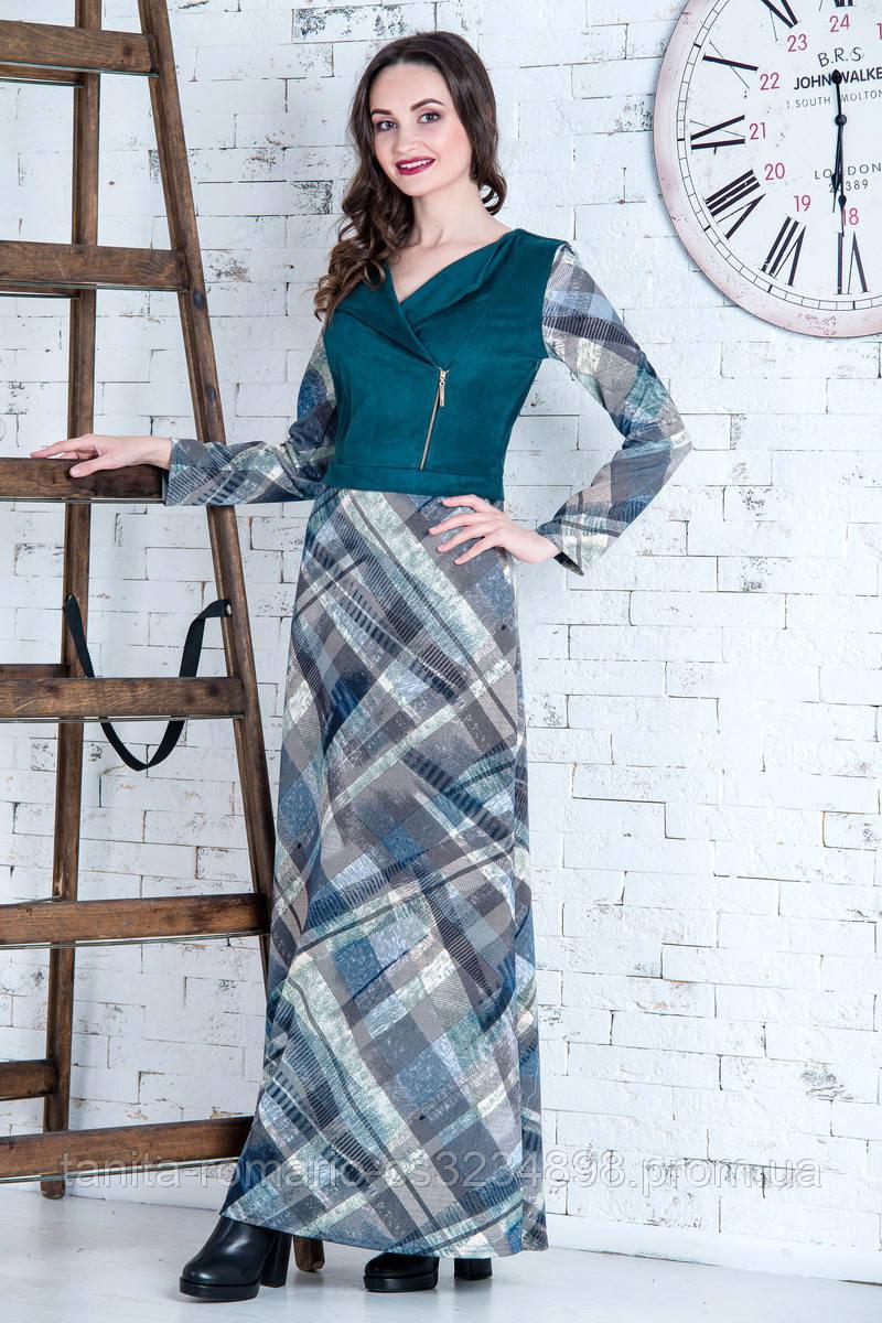 Повседневное платье 6254e Изумрудный S(р)