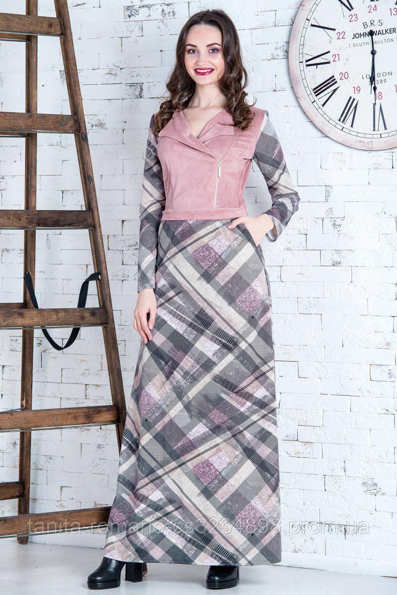 Повседневное платье 6254e Розовый S(р)
