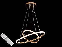 Світлодіодна підвісна люстра з регульованою висотою і пультом-діммером золото A9079-50*30, фото 1