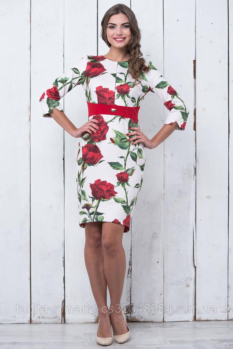 Повседневное платье 6205e Красный S(р)