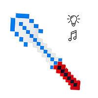 Алмазная лопата Майнкрафт свет, звук (красно-белая)