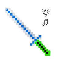 Меч Майнкрафт свет, звук (зеленый)