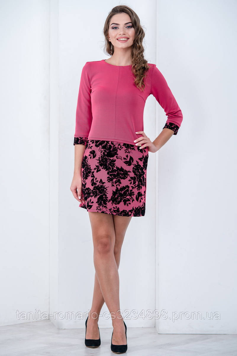 Повседневное платье 6202e Фуксия L(р)