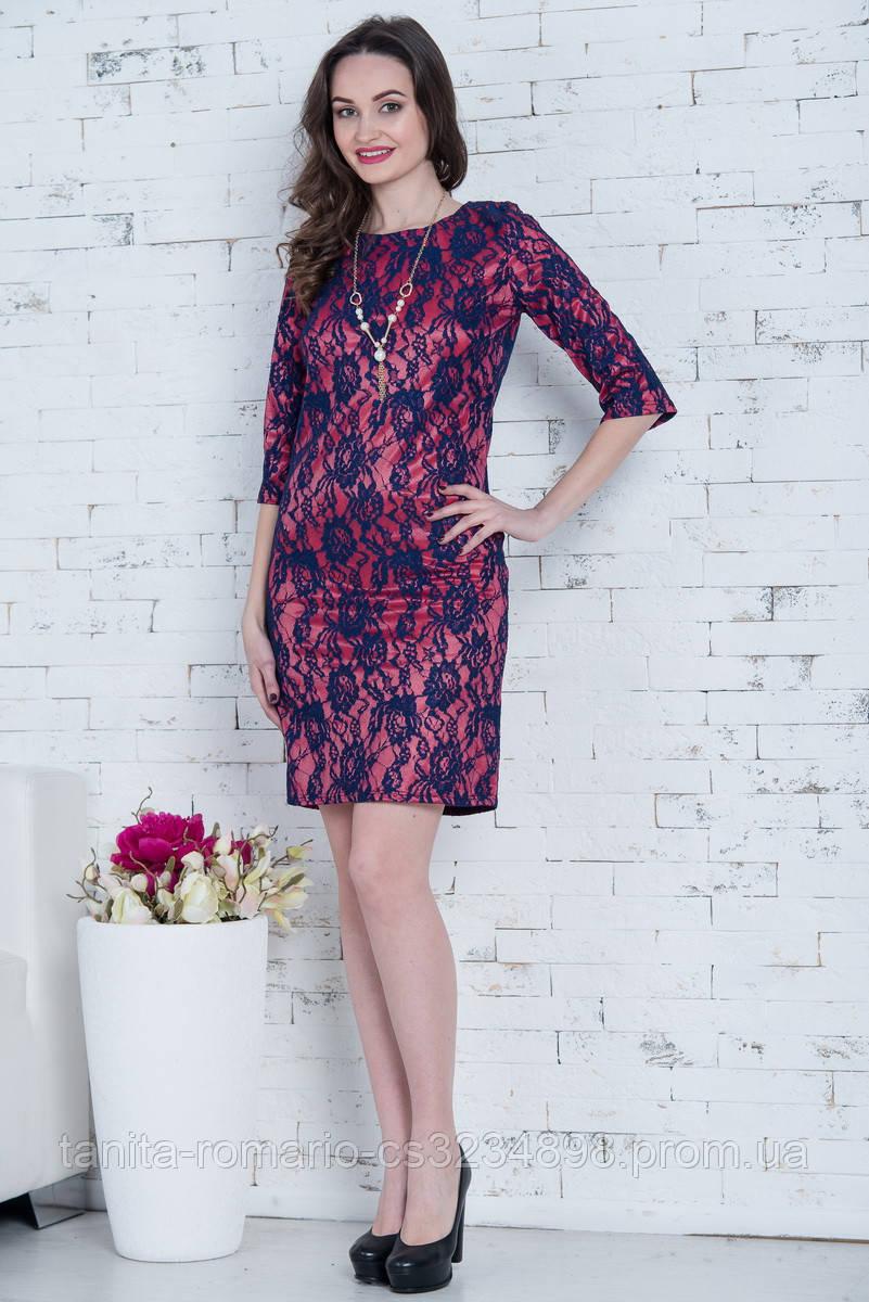 Коктейльное платье 5230e Синий/коралловый M(р)