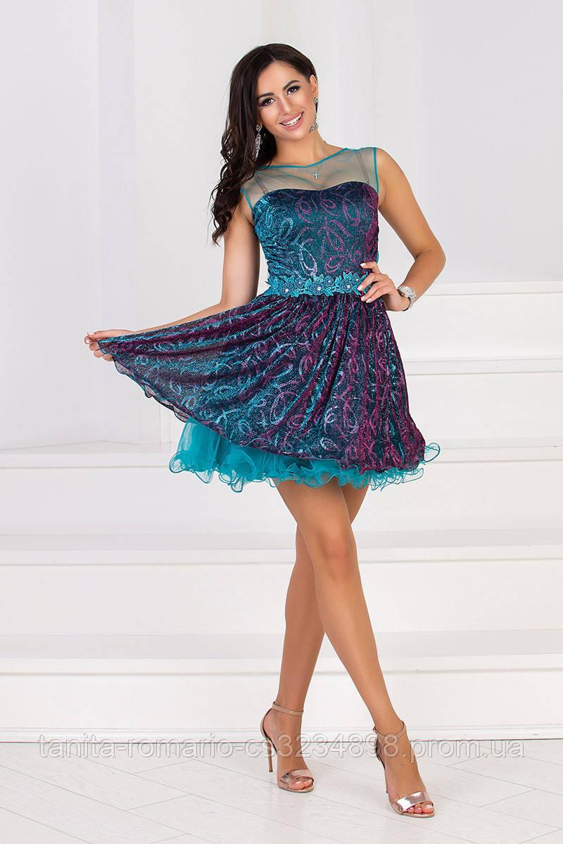 Коктейльное платье 5043e Морская волна M(р)