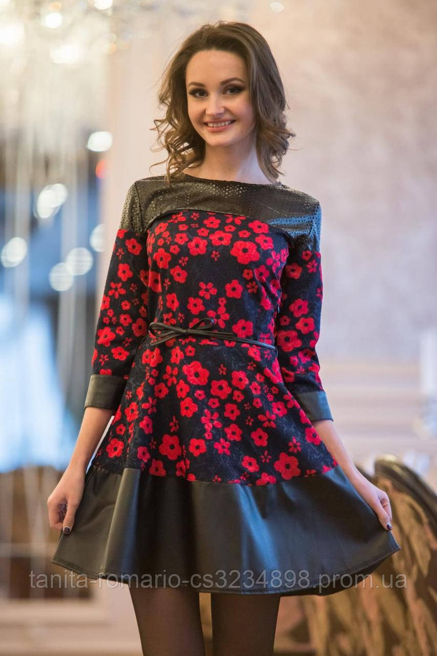 Повседневное платье 5007e Красный/синий S(р)