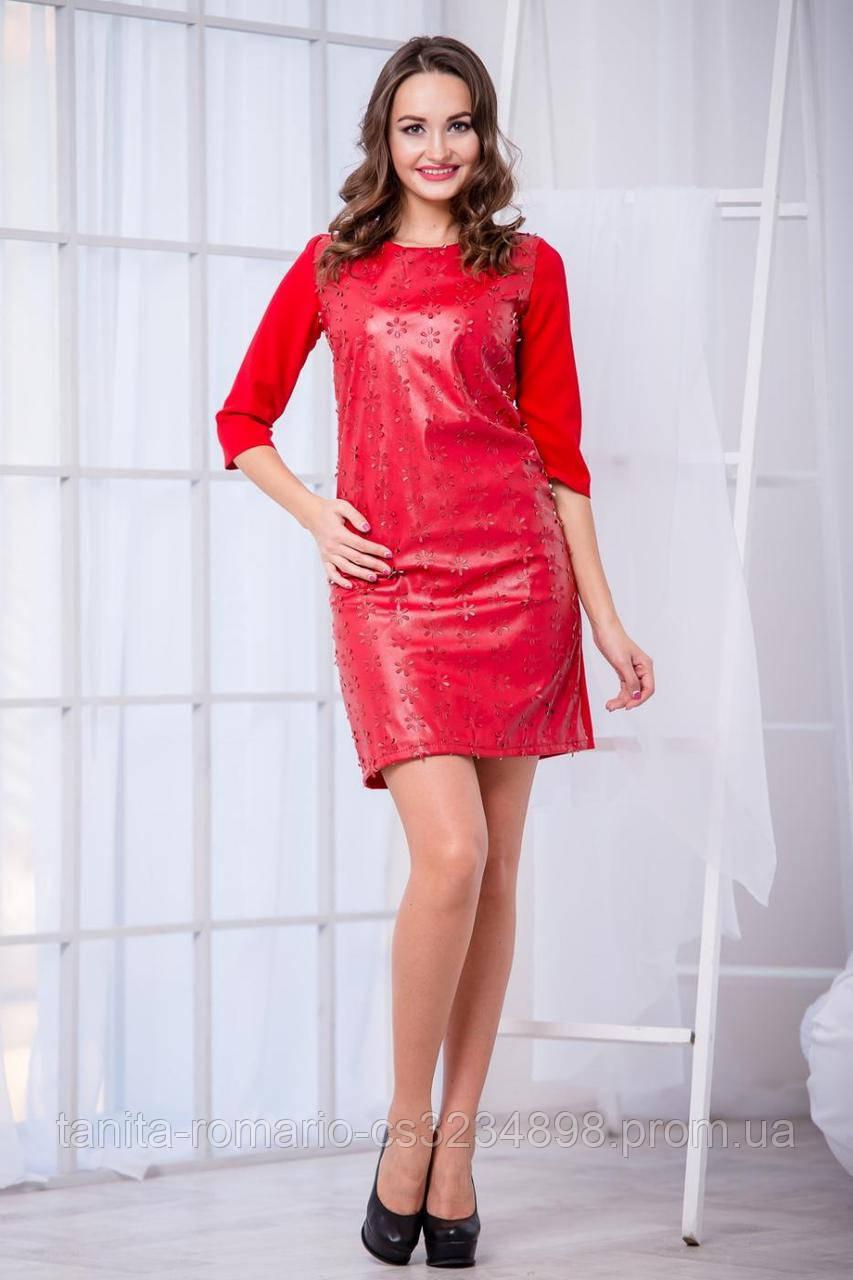 Повседневное платье из эко-кожикрасного цвета