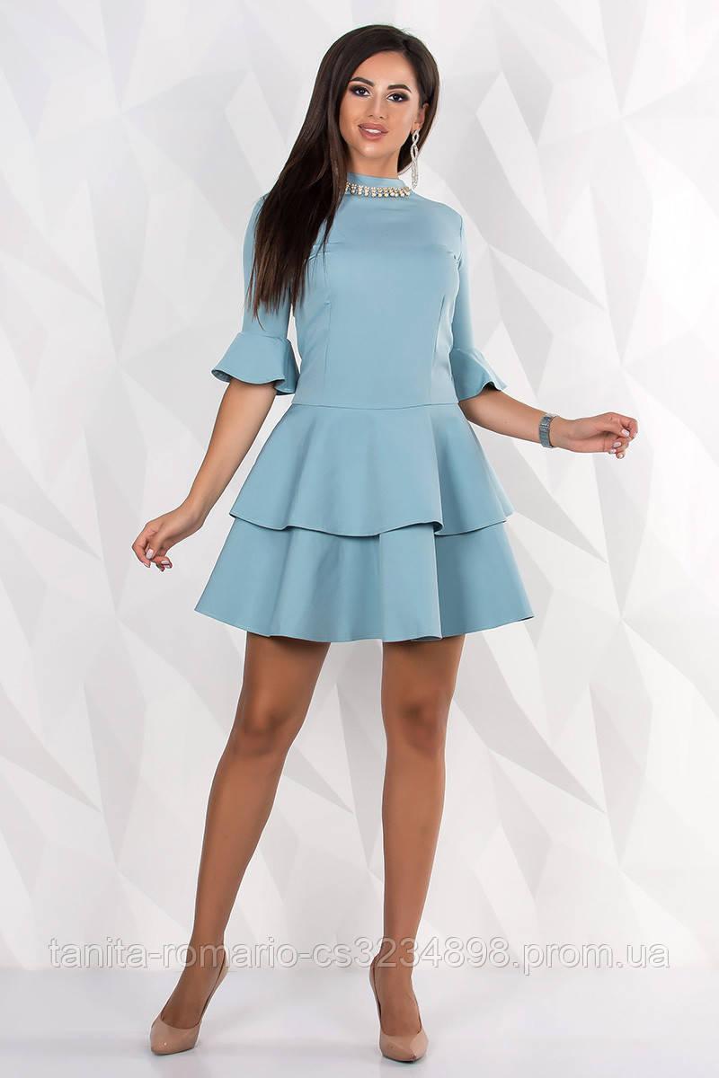 Повседневное платье 7189e Голубой S(р)